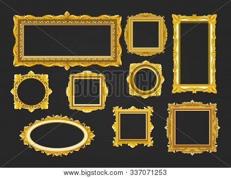 Luxury Interior Frames. Vector Golden Frame Shapes, Gold Elegant Vintage Royal Borders For Gorgeous