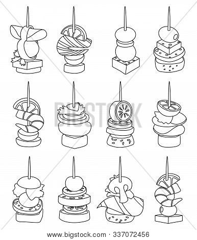 Canape Of Appetizer Line Vector Illustration On White Background .canape For Buffet Set Icon. Vector