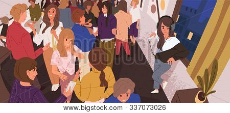 Discomfort In Crowd Flat Vector Illustration. Lonely Introvert Girl Among People. Mental Health, Psy