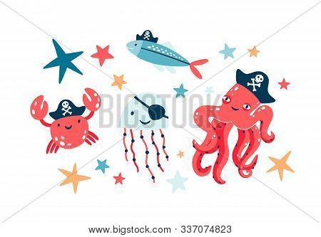 Pirate Fish Illustrations Set. Undersea World Habitants Wearing Pirate Eyepatches And Black Bandanas