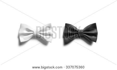 Blank Black And White Bow Tie Mock Up Set, Top View, 3d Rendering. Empty Accessory Bowtie Mockup Iso