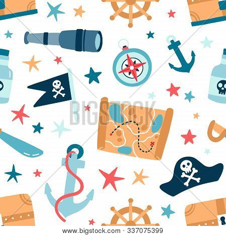 Pirate Sea Flat Vector Seamless Pattern. Sailing Backdrop. Anchor, Map, Compass, Spyglass, Bottle Wi