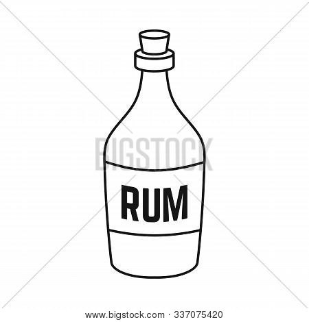Isolated Object Of Rum And Bottle Logo. Graphic Of Rum And Alcohol Vector Icon For Stock.