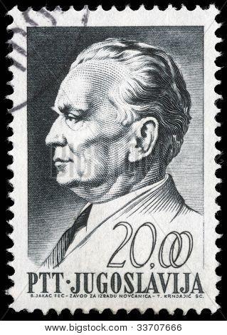 YUGOSLAVIA - CIRCA 1967: A stamp printed in Yugoslavia, is depicted Josip Broz Tito, circa 1967
