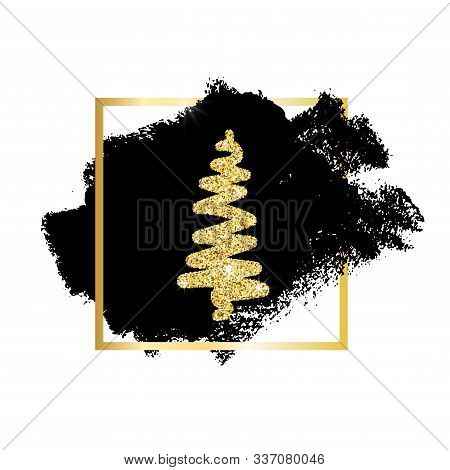 Hand Drawn Christmas Tree With Glitter Effect On Black Paint Spot With Gold Frame Isolated On White