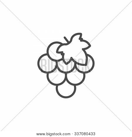 Grape Line Outline Icon Fruit Concept Isolated On White. Agriculture, Viticulture And Garden. Fresh