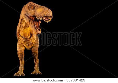 Tyrannosaurus Rex ( T-rex ) Is Walking And Open Mouth And Copy Space On Right Site . Front View . Bl