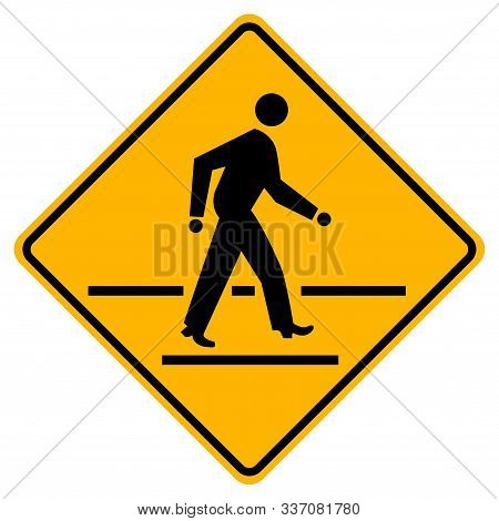 Pedestrian Crossing Warning Road Sign,vector Illustration, Isolate On White Background Label. Eps10