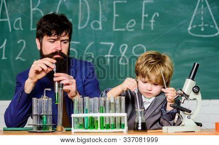 Back To School. Cognitive Skills. Teacher Child Test Tubes. Chemistry Experiment. Cognitive Process.