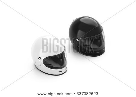 Blank Black And White Motorcycle Helmet Mockup Set Isolated, 3d Rendering. Empty Snowboard Or Skiing