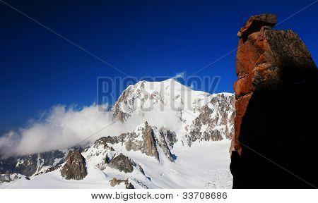 Mont Blanc (4810m) seen from Denr du Geant, Haute Savoie, France