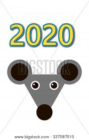 Illustration Of 2020 New Year Chrisrmas Calendar With Rat Image Isolated On White