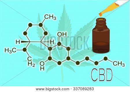 The formula of hemp CBD. Structural model of the molecules of cannabidiol and tetrahydrocannabinol. Medicinal cannabis. Medical marijuana, cannabinoids and health. illustration