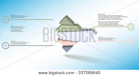 3D Illustration Infographic Template With Embossed Rhomb Randomly Divided To Five Parts