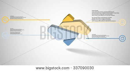 3D Illustration Infographic Template With Embossed Rhomb Randomly Divided To Four Parts