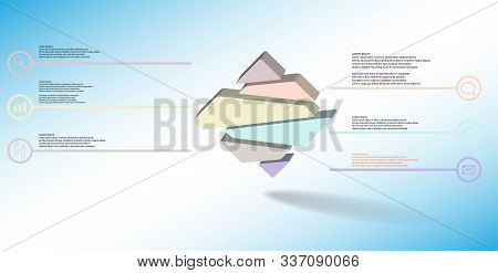 3D Illustration Infographic Template With Embossed Rhomb Randomly Divided To Six Parts
