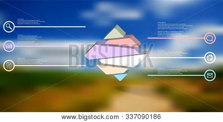 3d Illustration Infographic Template. The Embossed Rhomb Is Randomly Divided To Six Color Parts. Obj