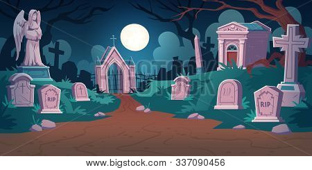 Cemetery Landscape At Night, Tombstone With Rip Inscription, Cartoon Vector. Gravestones With Cross,