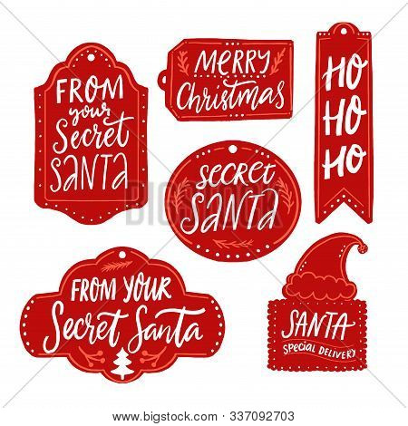 Secret Santa Gift Tags, Red Labels With Text. Handwritten Inscriptions From Your Secret Santa, Merry