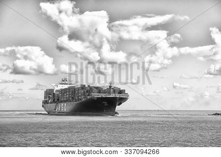 Miami, Usa-february 19. 2016: Sailing To Miami. Giant Barge Cargo Containers Miami Florida. Transpor