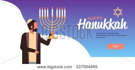 Jews Man Holding Menorah Jewish Person In Traditional Clothes Happy Hanukkah Concept Judaism Religio