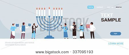 Jews People Standing Together Near Menorah Jewish Men Women In Traditional Clothes Happy Hanukkah Co