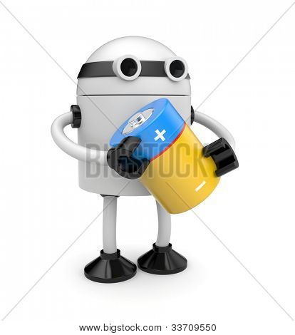 Robot with battery. Image contain clipping path