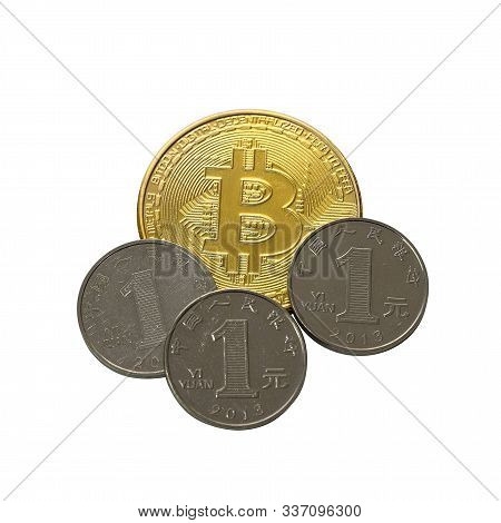 Bitcoin Cryptocurrency Gold Coin With Three Chinese Yuan Coins. Concept Of Bitcoin Depreciation To C