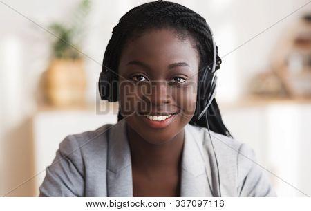 Customer Service Operator. Portrait Of Smiling Black Female Call Center Representative In Headset, C