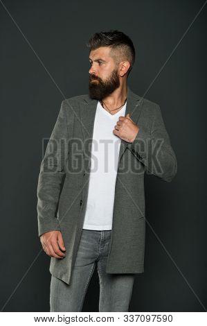 Menswear. Hipster Wear Comfy Outfit. Caucasian Man Demonstrate Fashionable Menswear. Bearded Man Wit