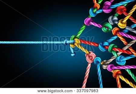 Many Against One Business Concept As One Underdog Single Rope Pulling In A Tug Of War With A Large G