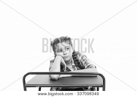 Boring Lesson. Girl Bored Pupil Sit At Desk. Issues Of Formal Education. Back To School Concept. Kid