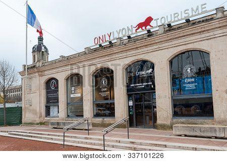 December 02, 2019 Lyon, France : Touristic Information Desk From Lyon City In Auvergne Rhone Alpes,