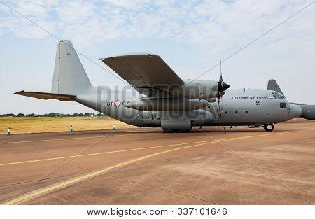 Fairford / United Kingdom - July 13, 2018: Austrian Air Force Lockheed C-130k Hercules Transport Pla