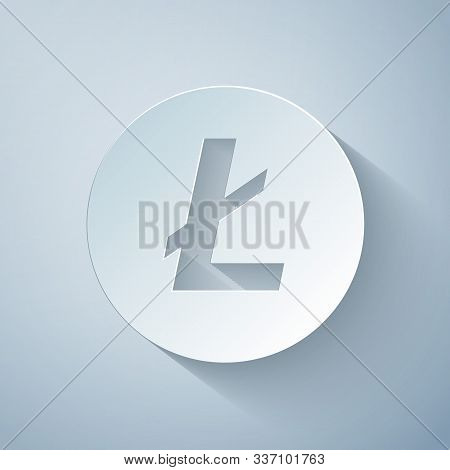 Paper Cut Cryptocurrency Coin Litecoin Ltc Icon On Grey Background. Physical Bit Coin. Digital Curre