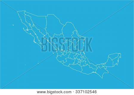 Modern Mexico Country Political Map With Boundaries Vector Illustration. Blue, White Color.