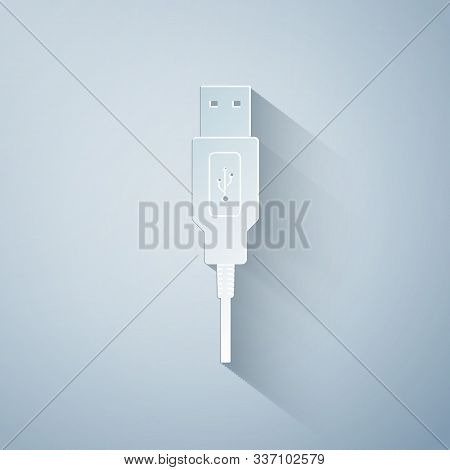 Paper Cut Usb Cable Cord Icon On Grey Background. Connectors And Sockets For Pc And Mobile Devices.