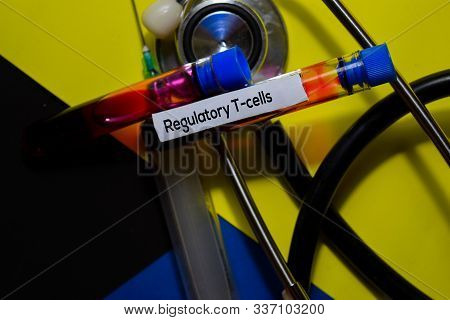 Regulatory T- Cells Text With Blood Sample. Top View Isolated On Office Desk Background. Healthcare/