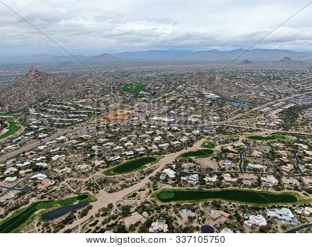 Aerial View Above Golf Course And Upscale Luxury Homes In Scottsdale, Phoenix, Arizona