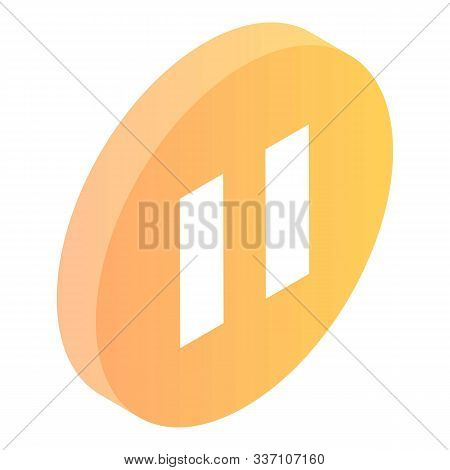 Pause Button Icon. Isometric Of Pause Button Vector Icon For Web Design Isolated On White Background