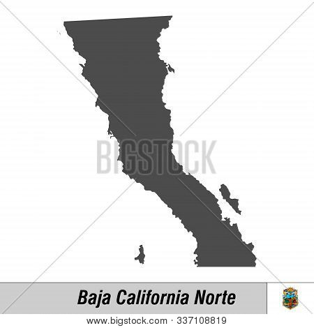 High Quality Map With Flag State Of Mexico - Baja California Norte