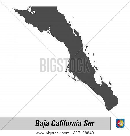 High Quality Map With Flag State Of Mexico - Baja California Sur