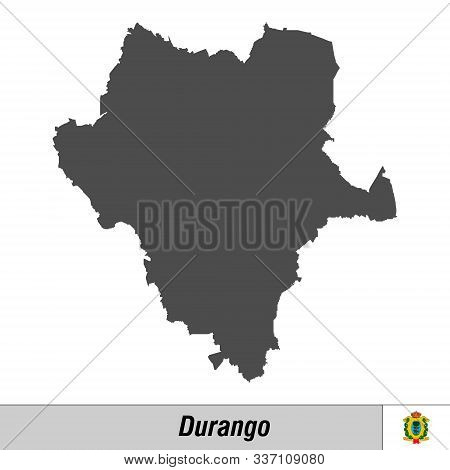 High Quality Map With Flag State Of Mexico - Durango