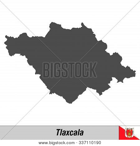 High Quality Map With Flag State Of Mexico - Tlaxcala