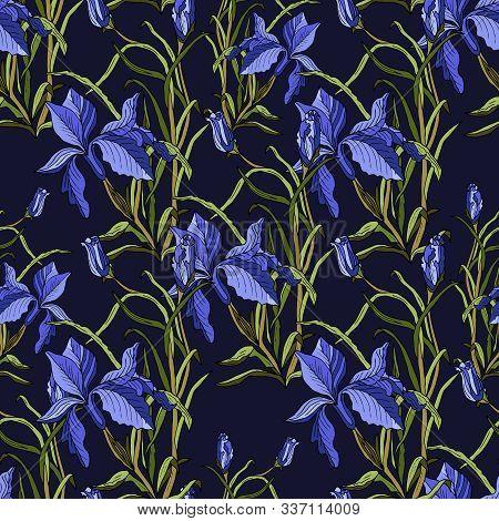 Seamless Background With Violet Irises And Leaves On Dark Violet. Vector Botanical Illustration. Vin