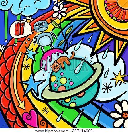 A Colorful Style Street Art Cartoon Doodle.