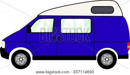 Simple Flat Graphic Cartoon High Top Campervan Illustration.