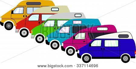 Colorful Camper Vans Lined Up In A Row.