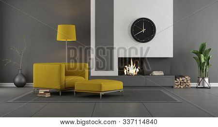 Gray And Yellow Modern Living Room With Fireplace And Armchair - 3d Rendering
