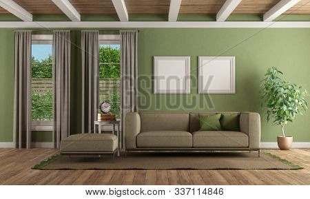 Green Living Room With Modern Sofa , Footstool And Two Windows - 3d Rendering